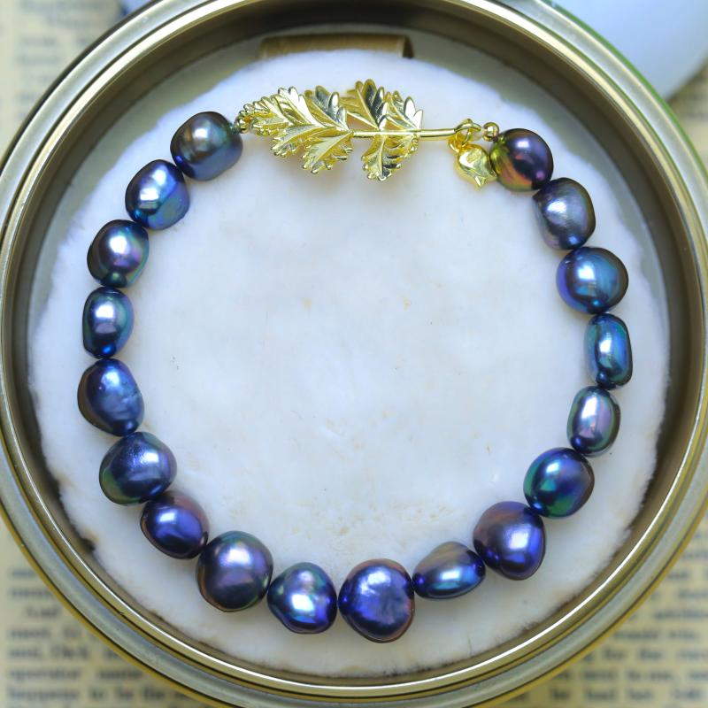 Natural Freshwater Mixed Color Pearl Bracelets with Golden Leaf