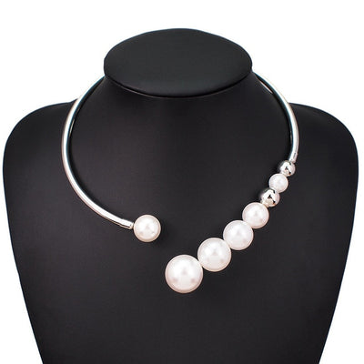 Metal Torques Simulated Pearl Choker Necklace Collar Necklace for Women