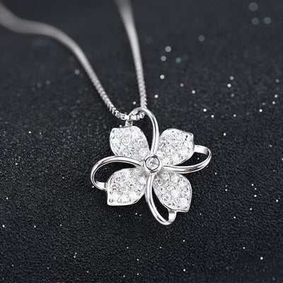 Four Leaf Clover Choker Necklace Jewelry Flower 925 Silver Pendants Necklaces Chain Birthday Gift For Women