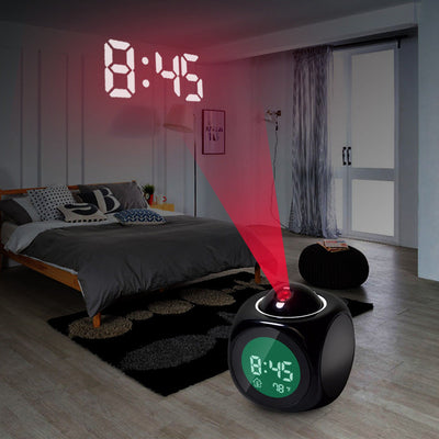 Digital Weather LCD Snooze Alarm Clock Projector Color Display LED Backlight Bell Timer