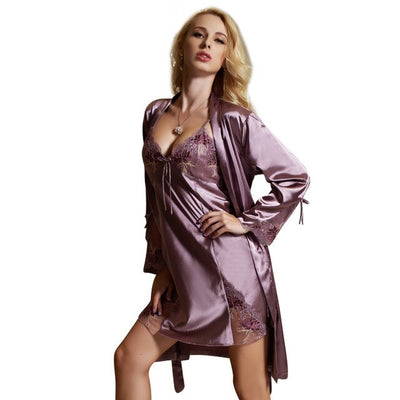 Sexy Evening Gown Robe Lingerie Sleepwear Dressing Gown Set