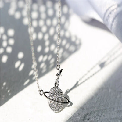 Fashion Silver 925 Jewelry Space Planet Necklaces