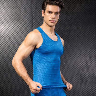 Men's Fitness Stretch Shirt Gym Top Running Vest