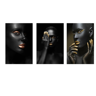 Golden Fashion Sexy Black Woman Canvas Painting Posters and Prints Scandinavian Wall Art