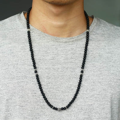 Men's Silver Stainless Steel Matte Black Glass Bead Arrow Pendant Necklace