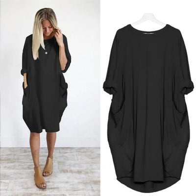 Casual Loose Dress with Pocket O Neck Long Tops Female Streetwear Dress