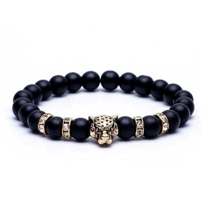Natural Stone Beads Lucky Charm Matt Tiger Leopard Men Bracelet