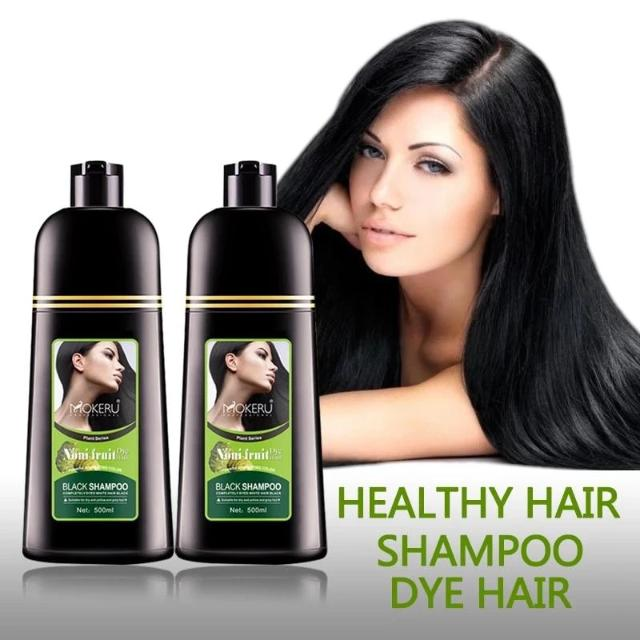 Fast Hair Dye Only 5 Minutes Noni Plant Essence Black Hair Color Dye Shampoo for Cover Gray White Hair