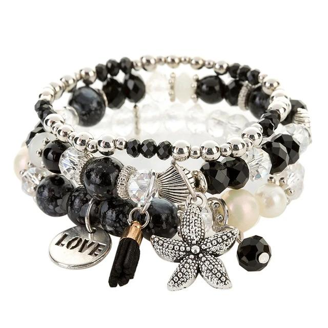 Bohemia Ocean Style Seastar Bead Crystal Bracelets & Bangles for Women