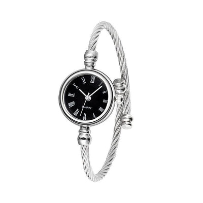 Casual Open End Silver Round Watch