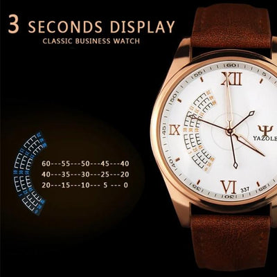 Fashion Sport Stainless Steel Case Leather Band Quartz Analog Wrist Watch for Men