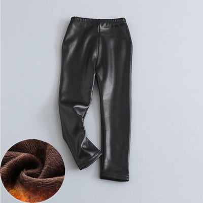 Baby Girls Leggings Winter Kids Thick Velvet Leggings Faux PU Leather Legging Slim Pants