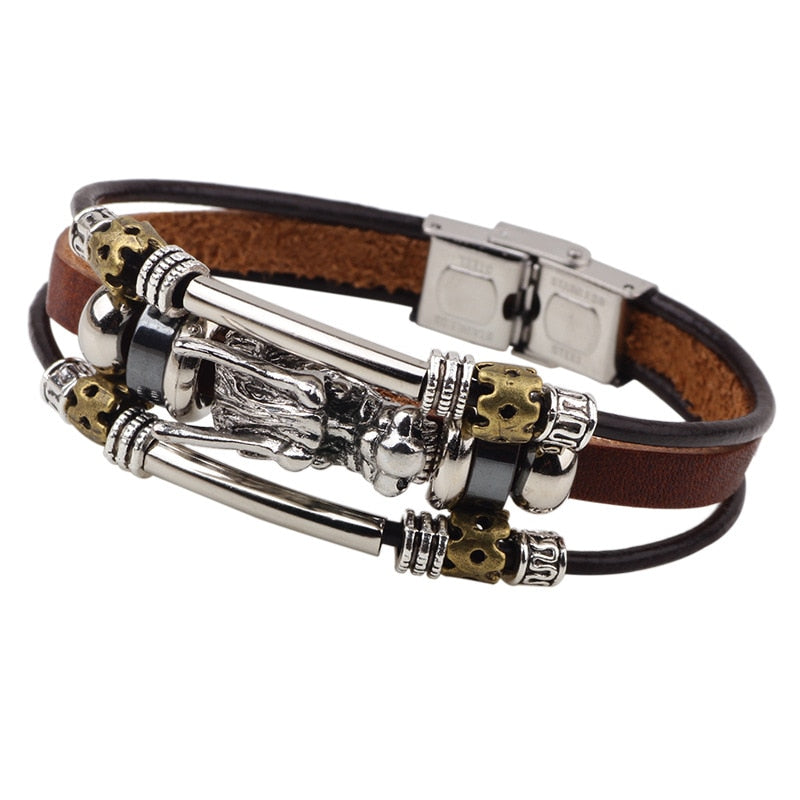 Tibetan Silver Men Leather Bracelet