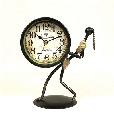 Abstract Hercules Figure Desk Clock Decorative Wrought Iron Art Body Builder Table Clock Room Ornament Handicraft Accessories