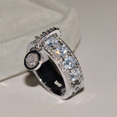 Luxury White Zircon Engagement Ring Fashion Jewelry for Women