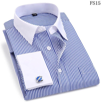 Men's Stripes Shirt Long Sleeve Slim Fit French Cuff Dress Shirt