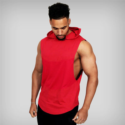 Solid Sleeveless Shirt Casual Fashion Hooded Tank Top Men Sporting Bodybuilding