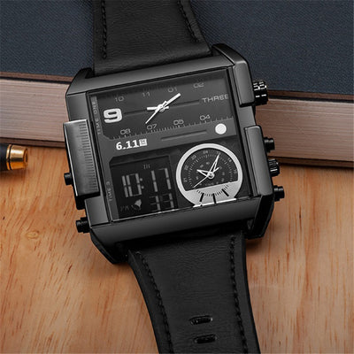 LED Digital Dual Time Zone Quartz Watch