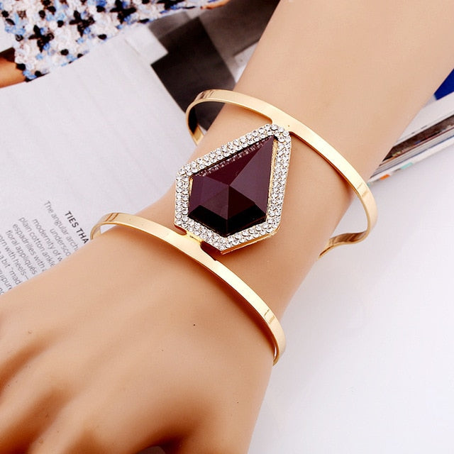 Maxi Metal Adjustable Bangle Trendy Resin Mosaic Crystal Bracelet