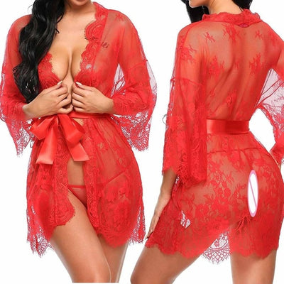 Sexy Lace Nightdress Nightgown Deep V G-String See Through Sexy Sheer Sleepwear
