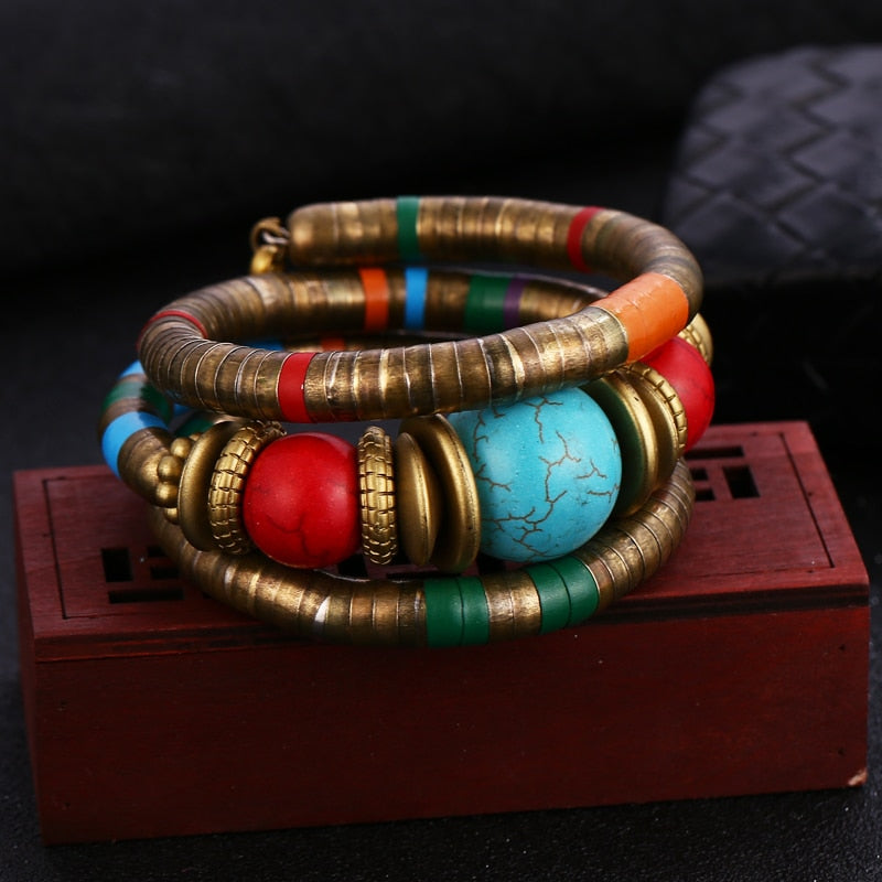 Vintage Bangle Bracelets Nepal Retro Lava Stones Bracelet for Women