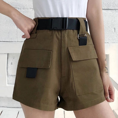 Korean Fashion High Waist Casual Mini Shorts with Pocket Buckle Belt