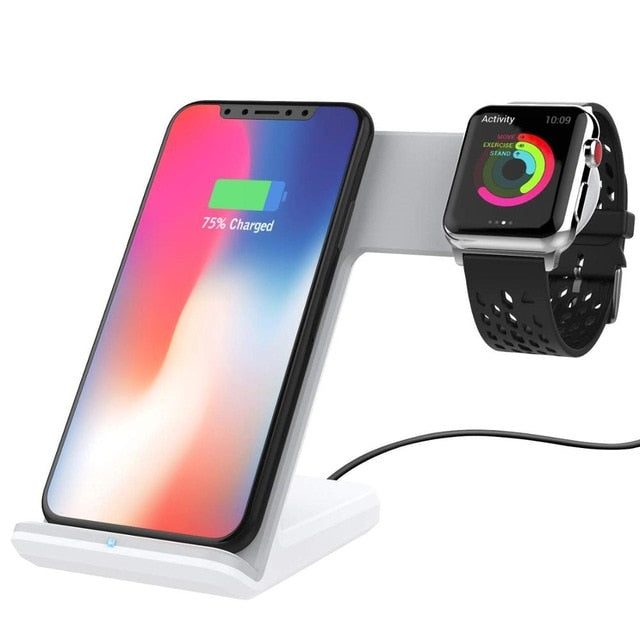 2 in 1 Fast Wireless Charger Dock for iPhone XS, XR, X8 , Apple Watch iWatch 4 3 2, Samsung S10, S9