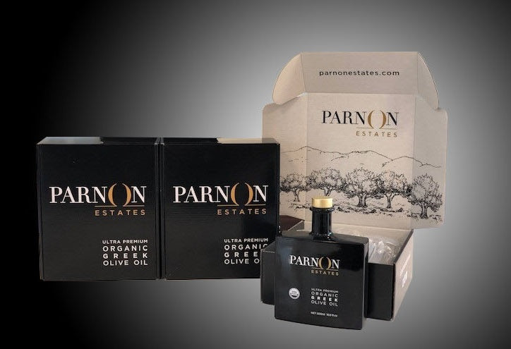 Parnon Estates Ultra-Premium Organic Greek Extra Virgin Olive Oil | 3 Gift Boxes