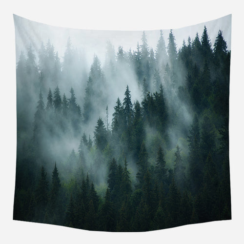 Deep Green Forest Tapestry Wall Hanging Tapis Cloth