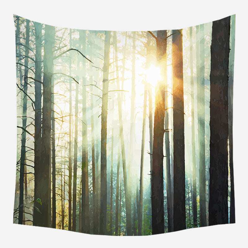 Applique Forest Tapestry Wall Hanging Tapis Cloth