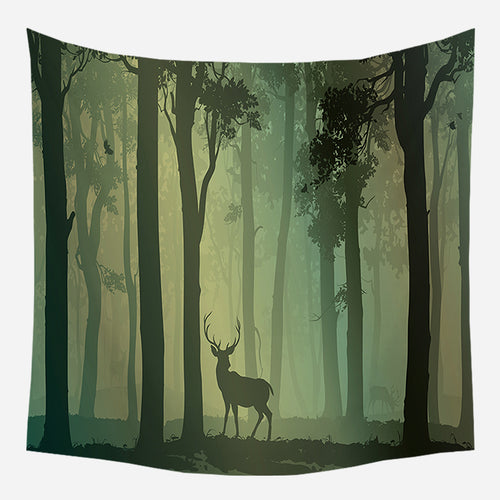 Forest Evening Tapestry Wall Hanging Tapis Cloth
