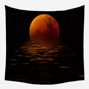 Original Orange Moon Tapestry Wall Hanging Tapis Cloth