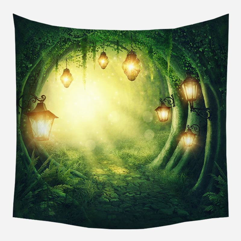 Lights In Forest Tapestry Wall Hanging Tapis Cloth