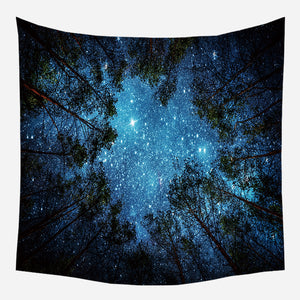 Forest Night Trees Tapestry Wall Hanging Tapis Cloth