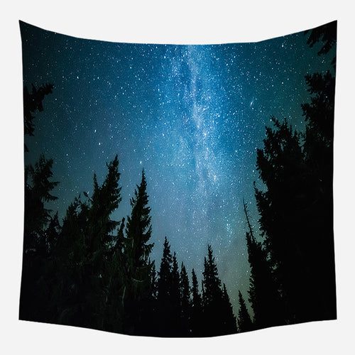 Forest Night Sky Tapestry Wall Hanging Tapis Cloth