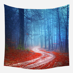 Blue Red Leaves Tapestry Wall Hanging Tapis Cloth