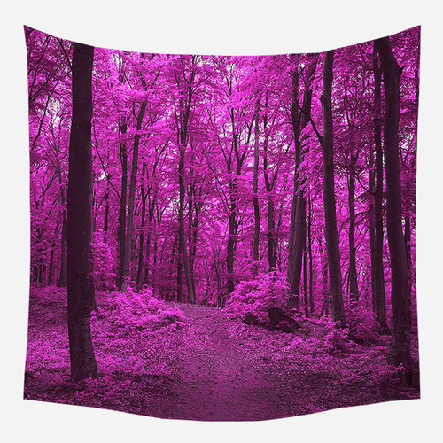 Pink Forest Tapestry Wall Hanging Tapis Cloth