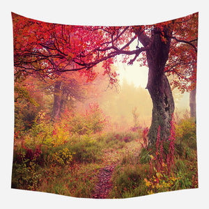 Red Tree Shadow Tapestry Wall Hanging Tapis Cloth