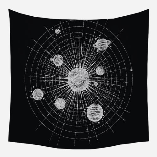Black Solar System Tapestry Wall Hanging Tapis Cloth
