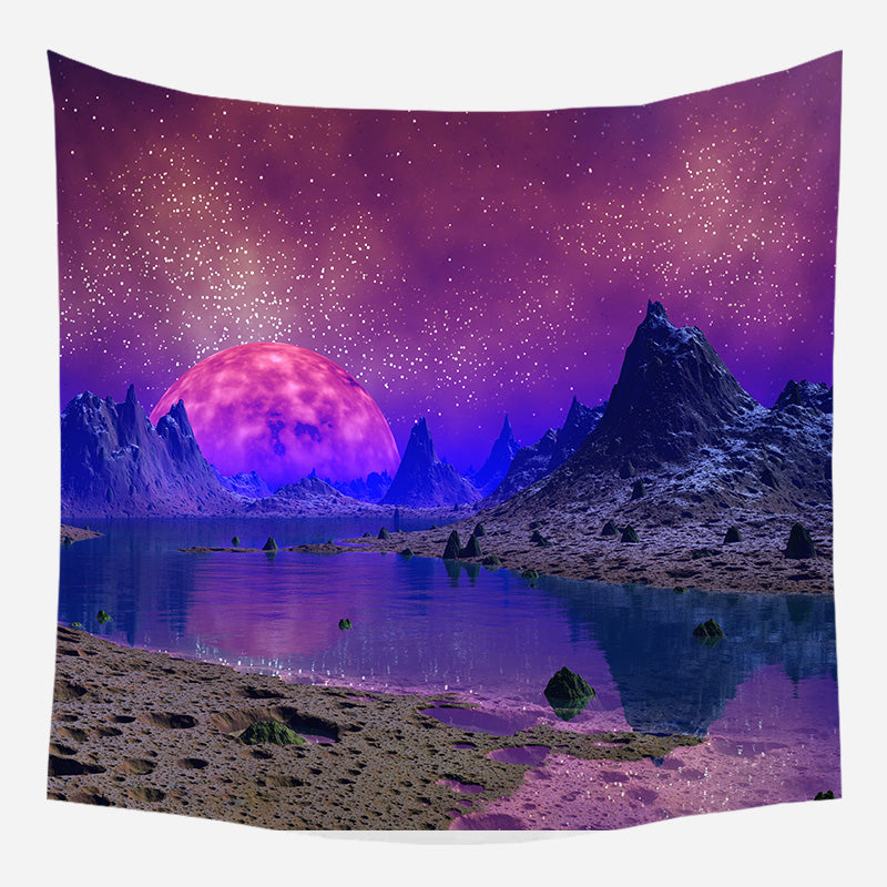 Purple Planetary Movement Tapestry Wall Hanging Tapis Cloth