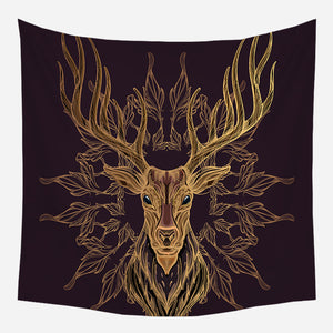Golden Deer Tapestry Wall Hanging Tapis Cloth
