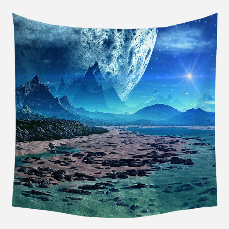 Blue Planetary Movement Tapestry Wall Hanging Tapis Cloth