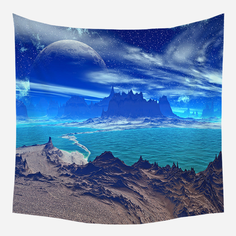 Indigo Sky Path Tapestry Wall Hanging Tapis Cloth