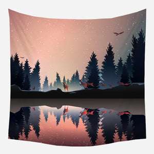 Evening Deers Nature Tapestry Wall Hanging Tapis Cloth