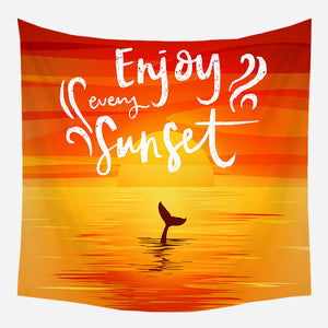Enjoy Every Sunset Tapestry Wall Hanging Tapis Cloth