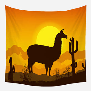 Llama Field Tapestry Wall Hanging Tapis Cloth