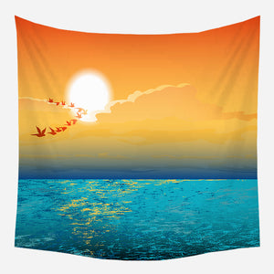 Golden Ocean Tapestry Wall Hanging Tapis Cloth