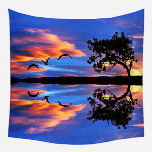 Bird Silhouette Tapestry Wall Hanging Tapis Cloth