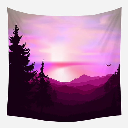 Pink Mountains Nature Tapestry Wall Hanging Tapis Cloth