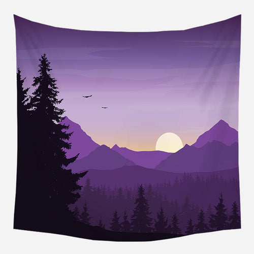 Purple Mountains Nature Tapestry Wall Hanging Tapis Cloth